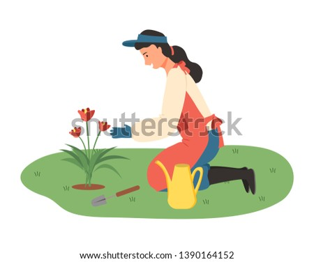 Lady gardening vector, farming lady with tools and instruments, watering can flat style. Woman growing plants blooming flora flourishing flora isolated