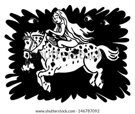 Lady Godiva - Retro Clip Art Illustration