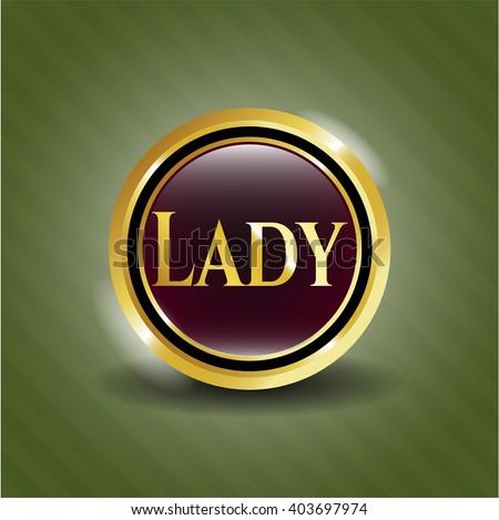 Lady gold badge or emblem