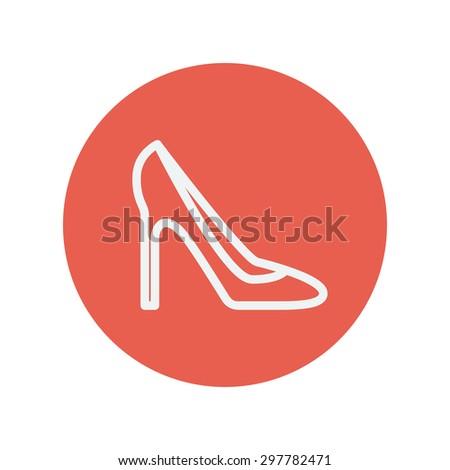lady high heel shoe thin line