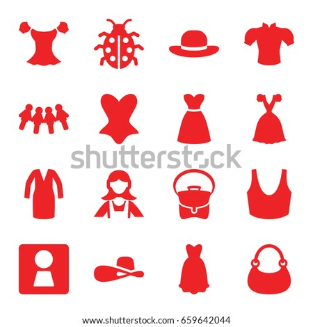 lady icons set set of 16 lady