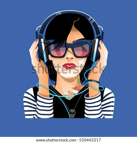 lady in glasses with earphones