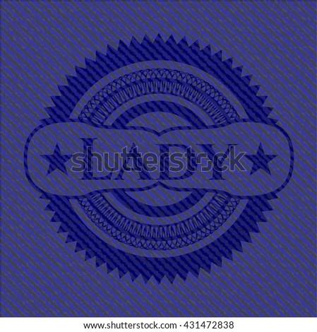 Lady jean or denim emblem or badge background