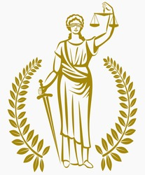 lady justice . Greek goddess Themis . Equality .  fair trial . Law . Laurel wreath .