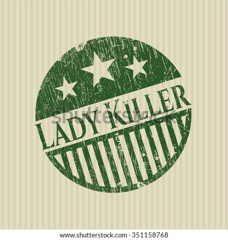 Lady Killer rubber seal with grunge texture