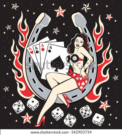 Lady Luck pinup lady sitting in a horseshoe with lucky rockabilly flames and dice and a black night sky background with stars. Stock fotó ©