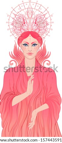 Lady of Sorrow. Devotion to the Immaculate Heart of Blessed Virgin Mary, Queen of Heaven. Vector illustration over halo or ornate mandala isolated. Hand-drawn, religion, spirituality, occultism