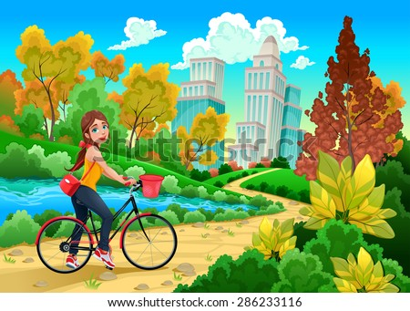 lady on a bike in a urban park