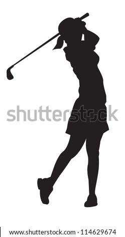 Lady professional golfer playing golf