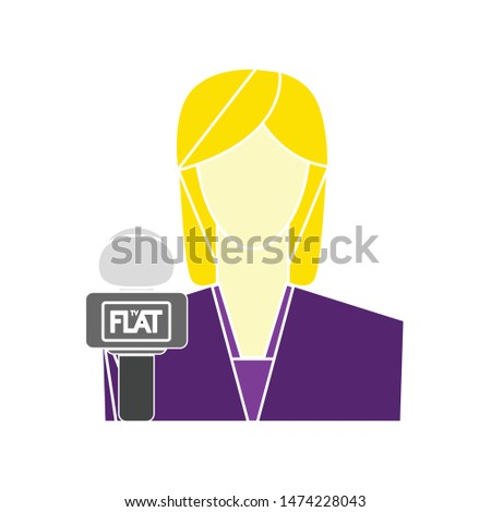 lady reporter icon. flat illustration of lady reporter vector icon. lady reporter sign symbol