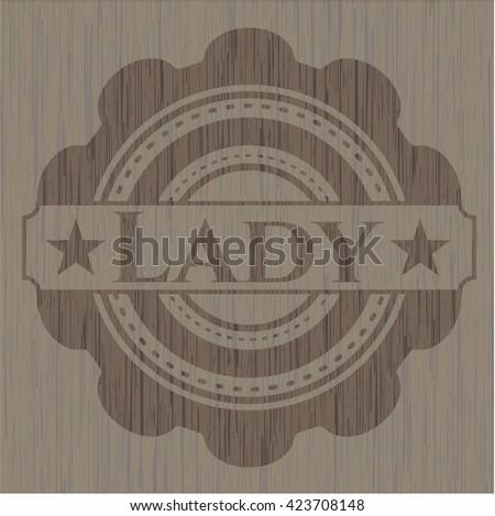 Lady retro wooden emblem