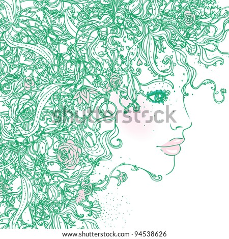 Lady Spring: Ornate green silhouette of woman with flowers