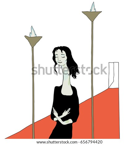 lady standing between two lamps