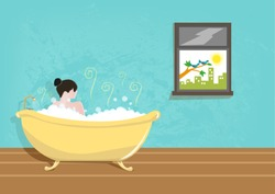 Lady taking a Bath using a Vintage Tub. Vector Illustration.