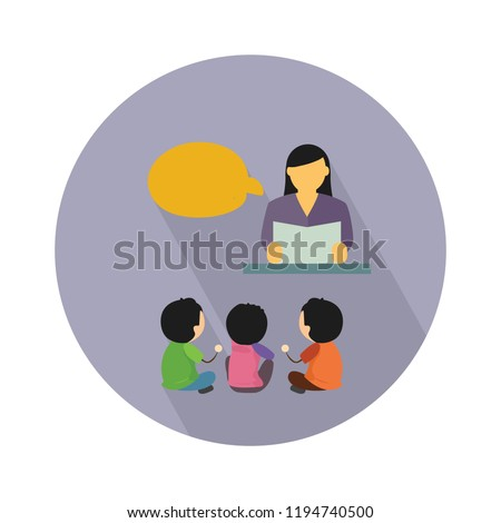 lady teacher icon - lady teacher with board - vector school or classroom sign and symbol