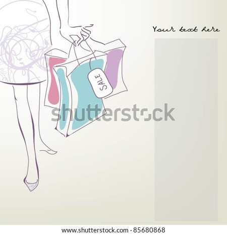 lady with bags - stock vector