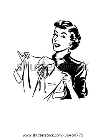 Lady With Blouse - Retro Clip Art