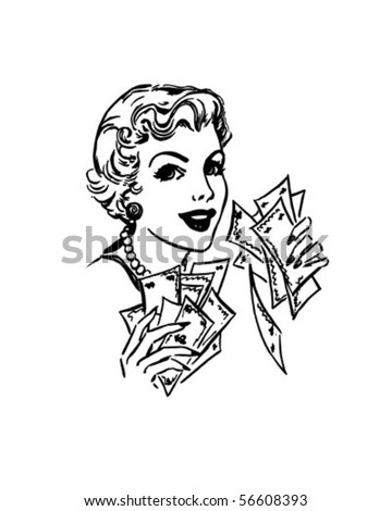 Lady With Cash - Retro Clip Art