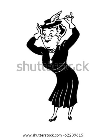 Lady With Hatpin Retro Clipart Illustration