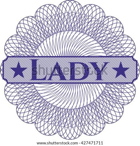 Lady written inside rosette
