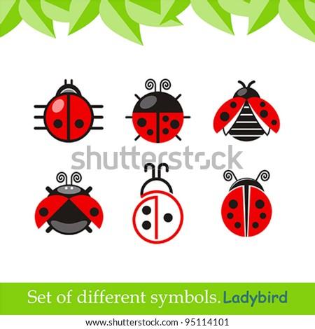 ladybird. ladybug. set of vector symbols