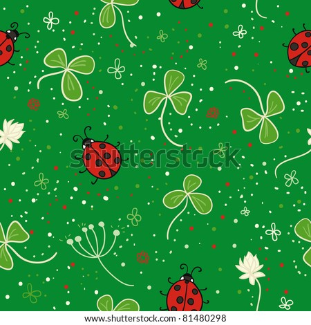 ladybird with clover seamless pattern