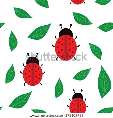 LadyBirds background seamless texture with leafs