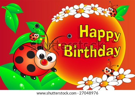 Ladybug And Flowers - Birthday Card For Kids Stock Vect