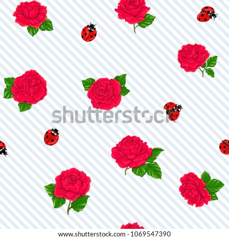 ladybug and roses seamless