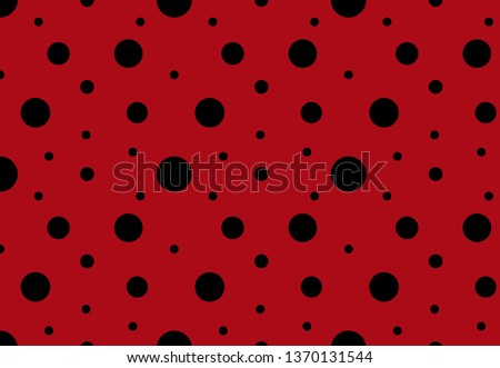 Ladybug black spots seamless pattern background. Vector trendy abstract dots random size with red background and black spots.