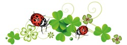 Ladybug design with clover and filigree ornament. German Silvester and New Years Eve Symbols.