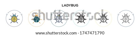 ladybug icon in filled  thin