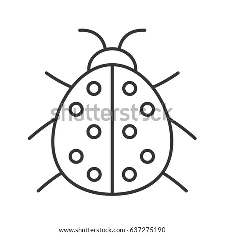 Ladybug linear icon. Thin line illustration. Ladybird contour symbol. Vector isolated outline drawing