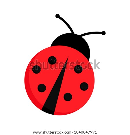 Ladybug or ladybird vector graphic illustration, isolated. Cute simple flat design of black and red lady beetle. Сток-фото ©