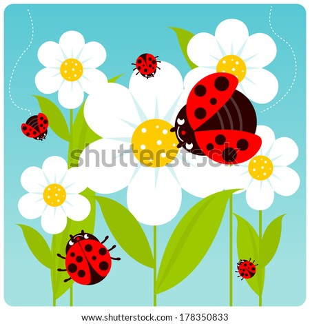 ladybugs and flowers vector