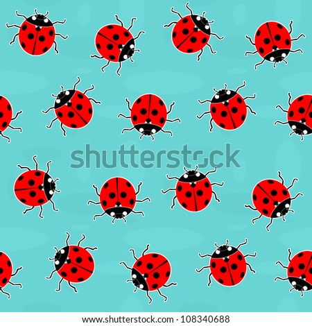 Ladybugs - old-fashioned seamless vector pattern
