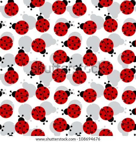 ladybugs seamless texture, abstract pattern; vector art illustration