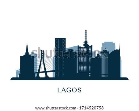 Lagos skyline, monochrome silhouette. Vector illustration. Foto stock ©