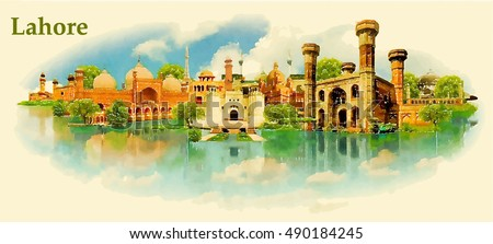 lahore city water color vector