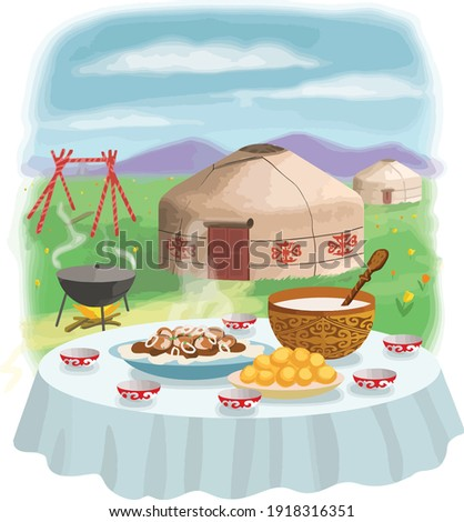 Laid table for the Nauryz holiday. Kazakh national dishes beshparmak, baursak, kumis drink. Yurts, swing altybakan, mountains and tulips on the background.  Stockfoto ©