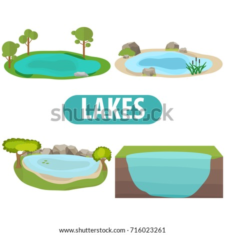 lake  a set of lakes with trees
