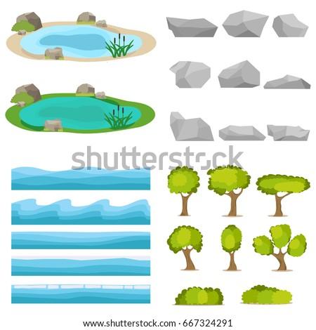 lake  a set of stones  trees  a