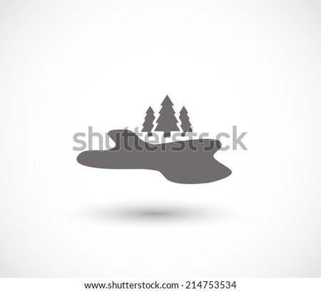 Lake and forest icon vector