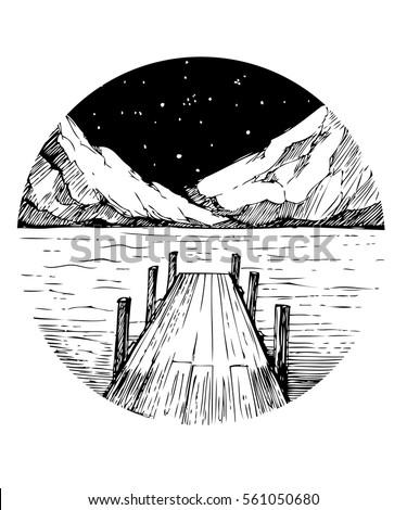 lake and mountains tattoo
