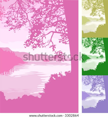 lake background. A beautiful lake scene background. Vector file includes several different colour versions