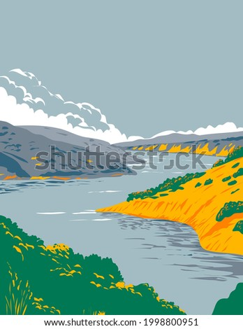 Lake Berryessa Within in Berryessa Snow Mountain National Monument in Yolo and Napa County California United States WPA Poster Art Stock fotó ©