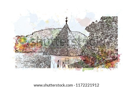 Lake Bled is a lake in the Julian Alps of the Upper Carniolan region of northwestern Slovenia, where it adjoins the town of Bled. Watercolor splash with hand drawn sketch illustration in vector. - Shutterstock ID 1172221912