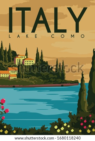 Lake como Italy Vector Illustration Background. Travel to Lake Como Lombardy Italy. Flat Cartoon Vector Illustration in Colored Style. Foto stock ©