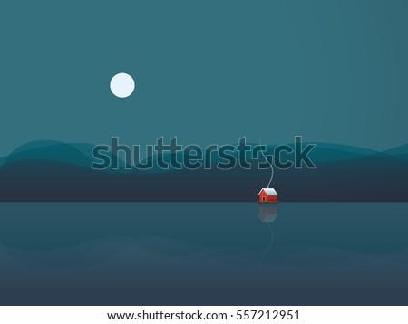 lake house vector illustration