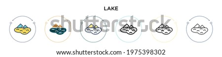 lake icon in filled  thin line